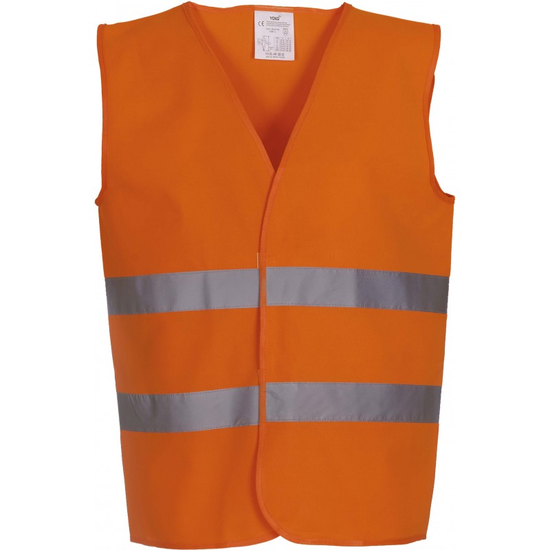 Gilet orange fluorescent à 2 bandes haute visibilité YOKO