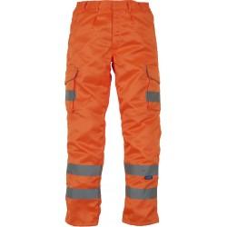 Pantalon orange fluorescent Cargo haute visibilité genouillères YOKO