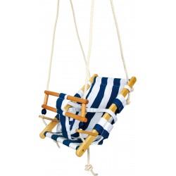 Balançoire transat en bois tissu rayure bleu blanc pour enfant 18 mois