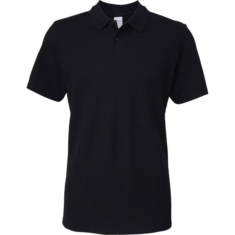 Polo noir Homme Softstyle coton Double Piqué marque gildan