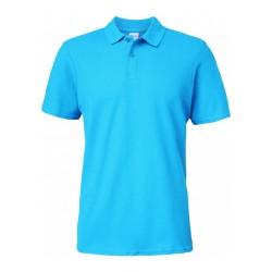 Polo bleu azur Homme Softstyle coton Double Piqué marque gildan