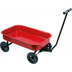 Chariot enfant en métal rouge roues increvables, XL