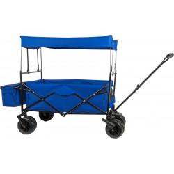 Chariot bleu à tirer pliable avec toit enfant