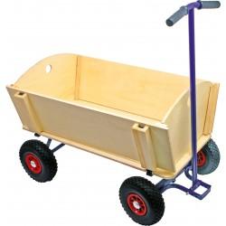 Chariot à tirer en bois et métal bleu roue pneus en caoutchouc