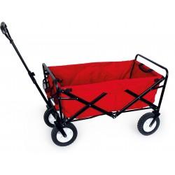 Chariot enfant à tirer pliable tissu rouge métal noir