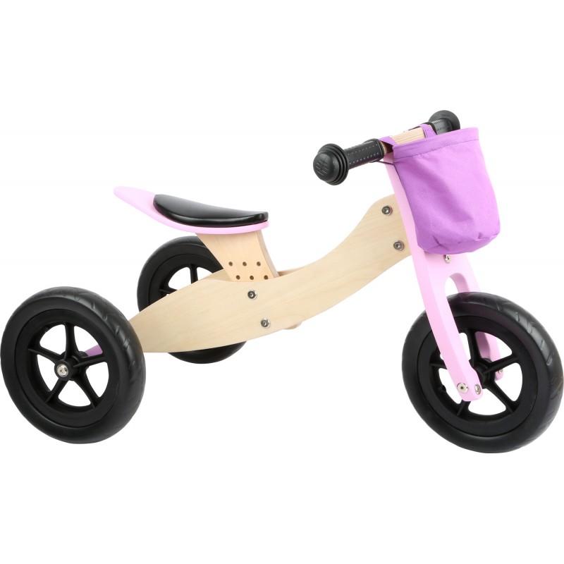 Draisienne vélo Tricycle jouet en bois enfant 2 en 1 Maxi Rose