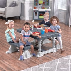 STEP2 3 PIECE FARMHOUSE TABLE & BENCH SET BANC PLASTIQUE JOUET ENFANT 2 ANS
