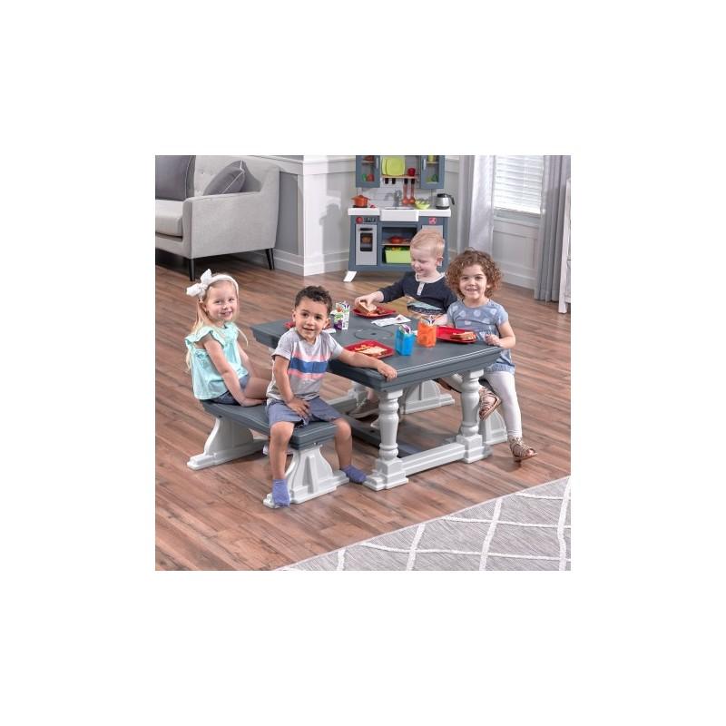 STEP2 3 PIECE FARMHOUSE TABLE & BENCH SET BANC PLASTIQUE JOUET ENFANT 2 ANS