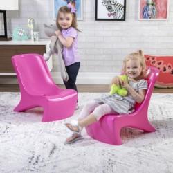 SPEP2 ENSEMBLE DE 2 CHAISES PLASTIQUE CHIC JUNIOR ROSE ENFANT FILLE 2 ANS