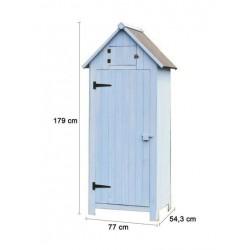 cabane de jardin Cabine de rangement lasurée bleue 3 étagères