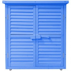 Habrita Armoire bois de rangement lasurée bleu pour jardin BOX 0905