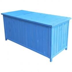 Habrita Coffre en bois peint bleu de rangement pour jardin