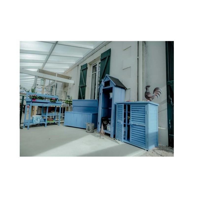 Habrita ensemble meuble de jardin lasuré bleu en bois