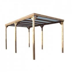 HABRITA Pergola carport sapin traité très haute température à 215°C 300 x 502 cm