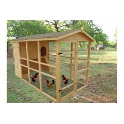 Habrita Poulailler très très grande taille XXXL grillagé toiture bitumé 8 à 12 poules