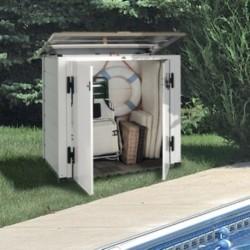 habrita Coffre de jardin en résine blanc beige avec plancher idéal piscine poubelle