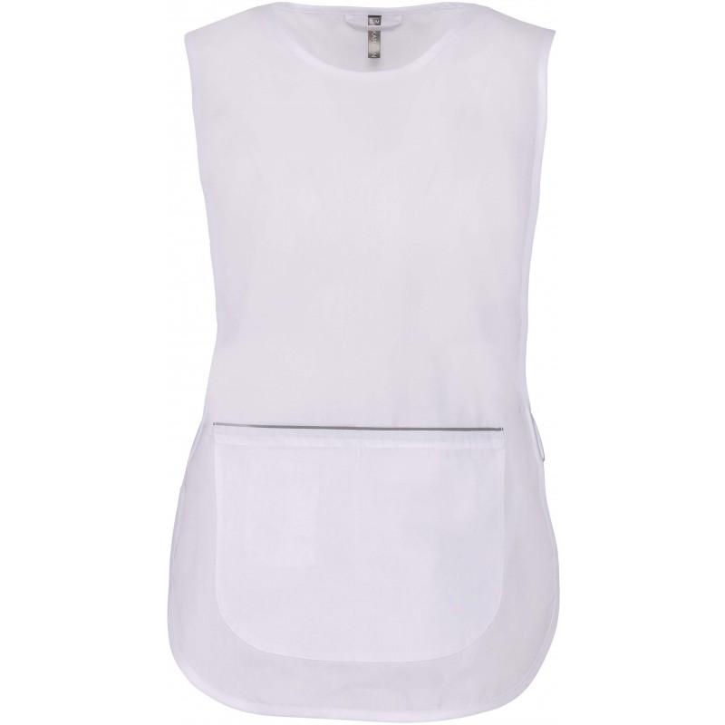 Tunique polyester coton blanc femme santé, ménage, spa, institue de beauté KARIBAN