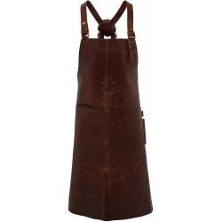 tablier artisan à bavette 100% cuir de buffle marron 2 poches plaquées devant marque Premier PR140