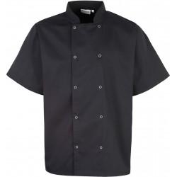 Veste de cuisine noir manches courtes à boutons pression marque Premier PR664