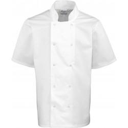 Veste de cuisine blanche manches courtes à boutons pression marque Premier PR664