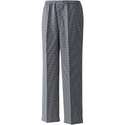 """Pantalon de cuisine """"Pull On"""" à petit carreaux noir et blanc poche arrière PR552"""