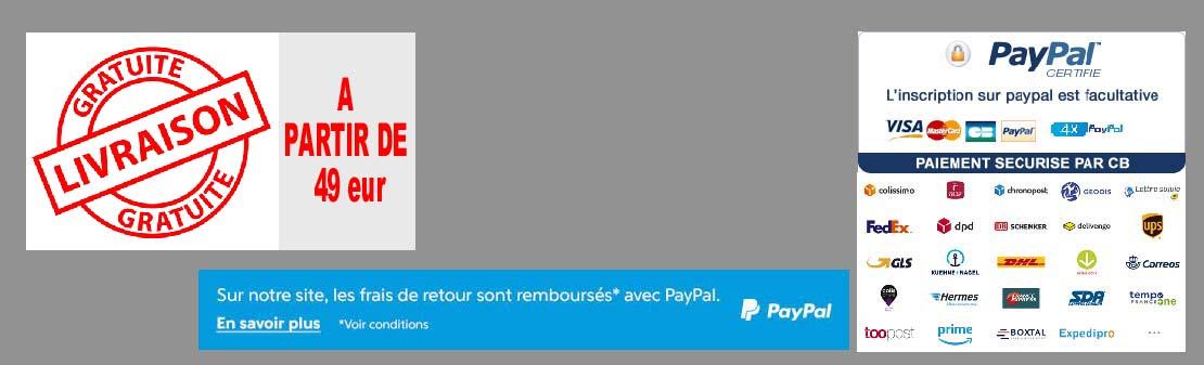 livraison et paiement HYPER-H bénéficier de la livraison gratuite pour un retour PayPal